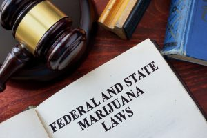 Federal and State Marijuana Laws title on a book and gavel.